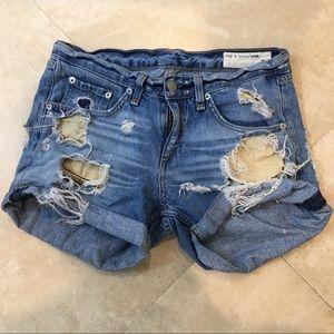 Rag & Bone distressed denim boyfriend shorts